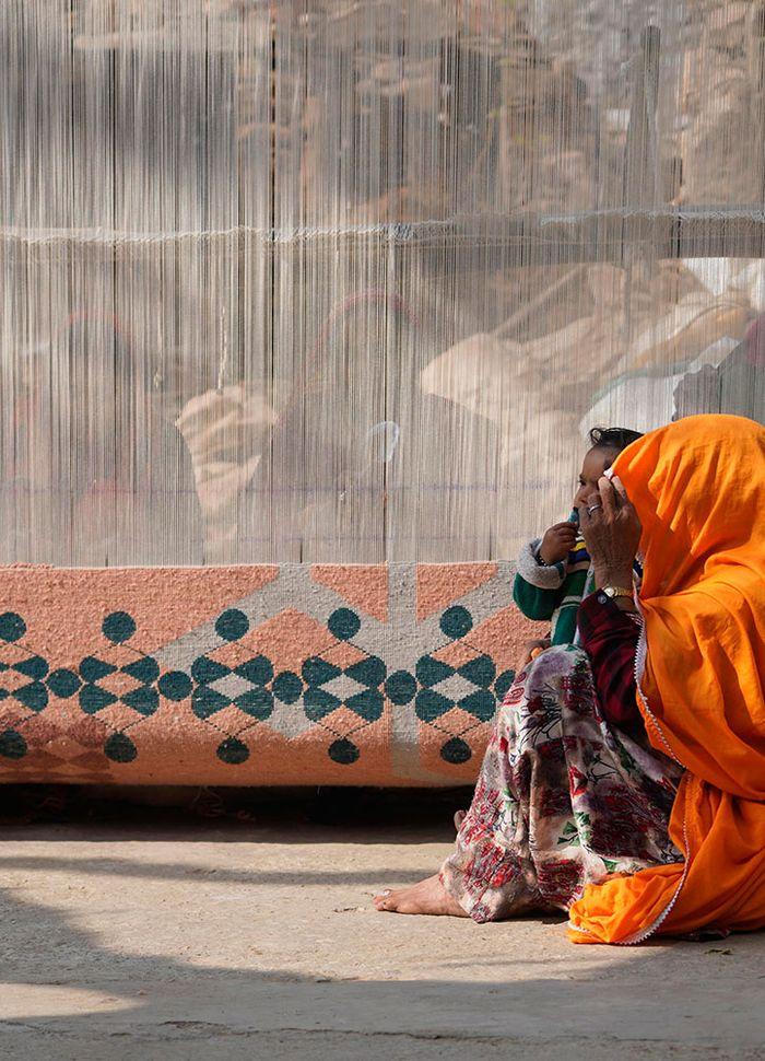 kolam red and orange wool and bamboo silk hand knotted Rug - Corner