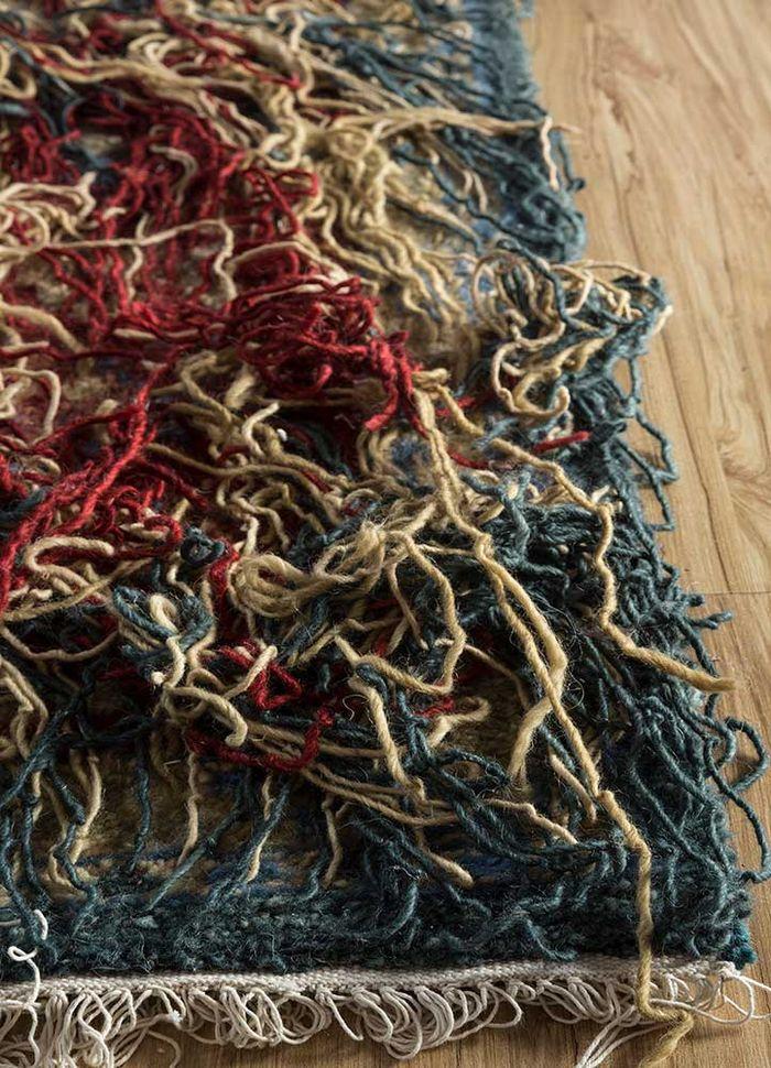 arfa blue wool hand knotted Rug - Corner