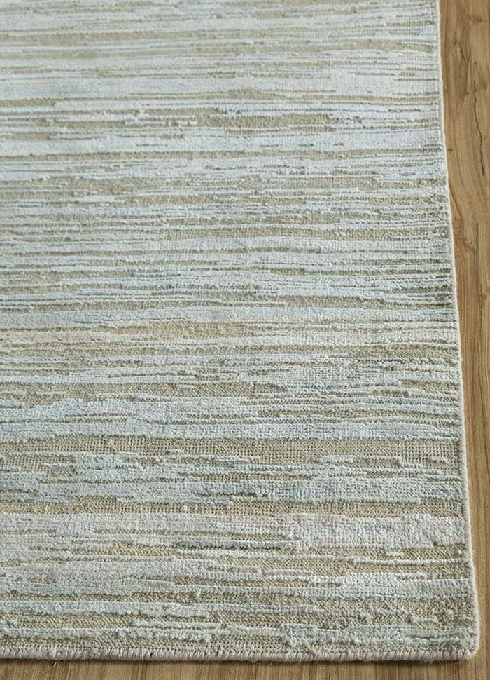 legion blue wool and silk hand knotted Rug - Corner