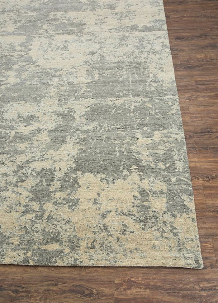 project error by kavi beige and brown wool hand knotted Rug - Corner