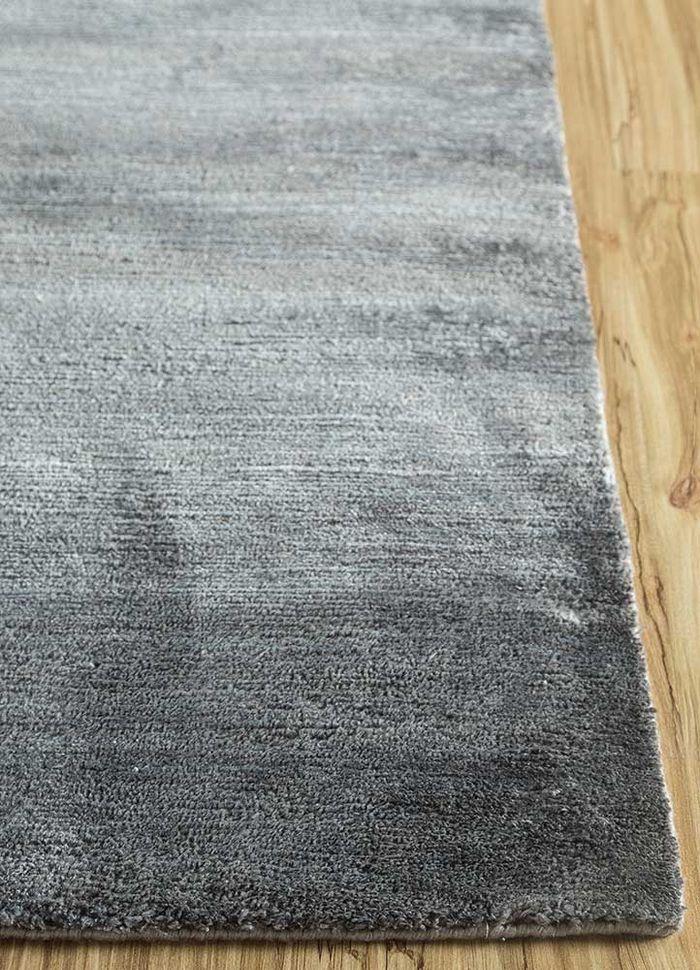 legion grey and black silk hand knotted Rug - Corner