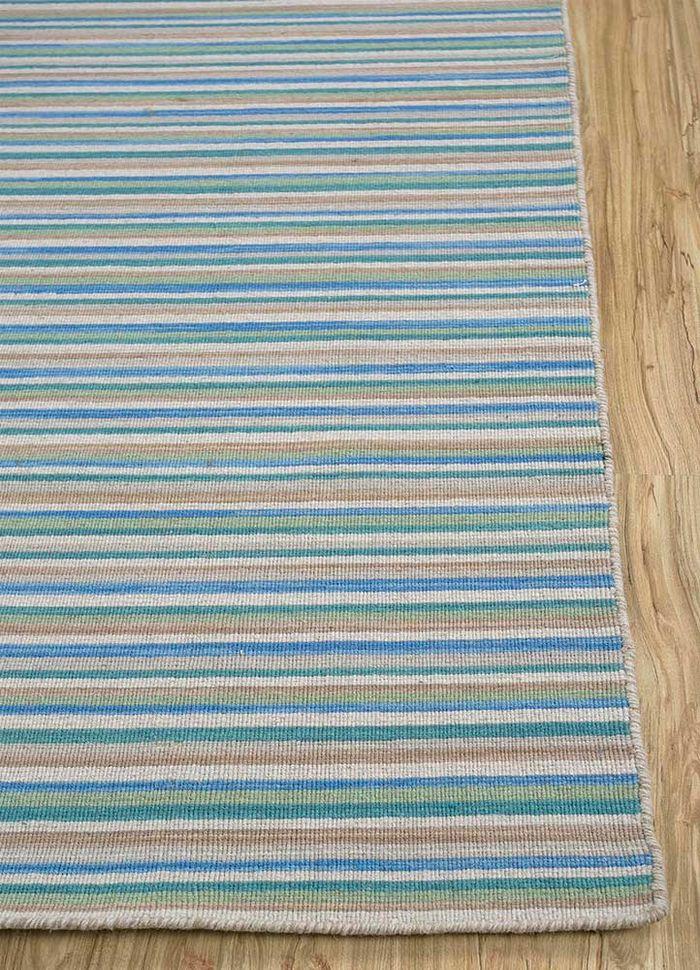 aprezo blue wool flat weaves Rug - Corner