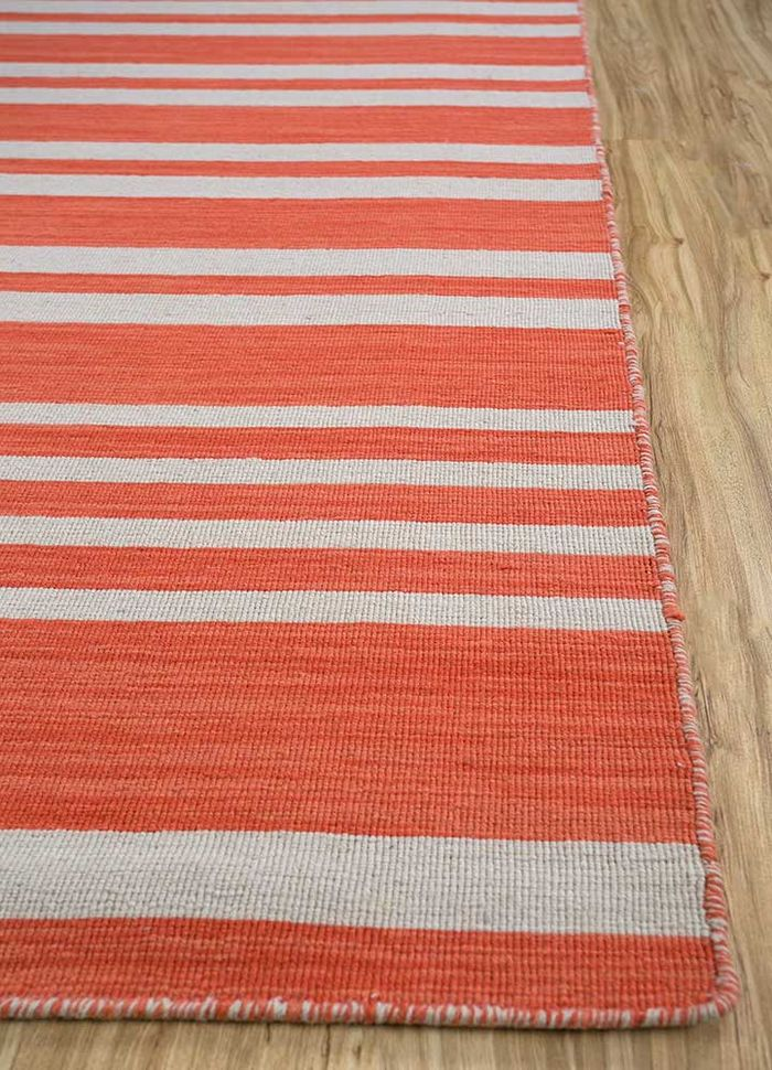 aqua red and orange wool flat weaves Rug - Corner
