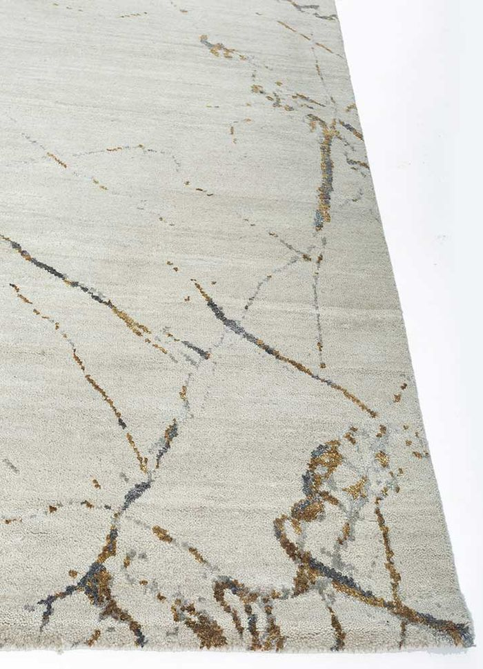 urban pause by kavi ivory wool and silk hand knotted Rug - Corner