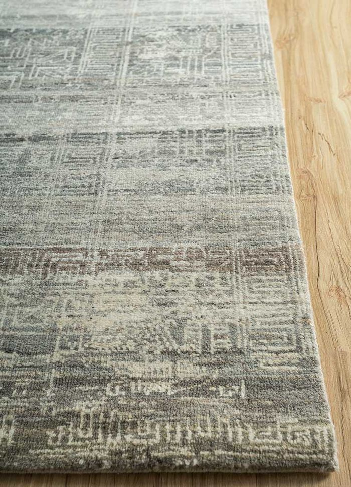 viscaya beige and brown wool hand knotted Rug - Corner