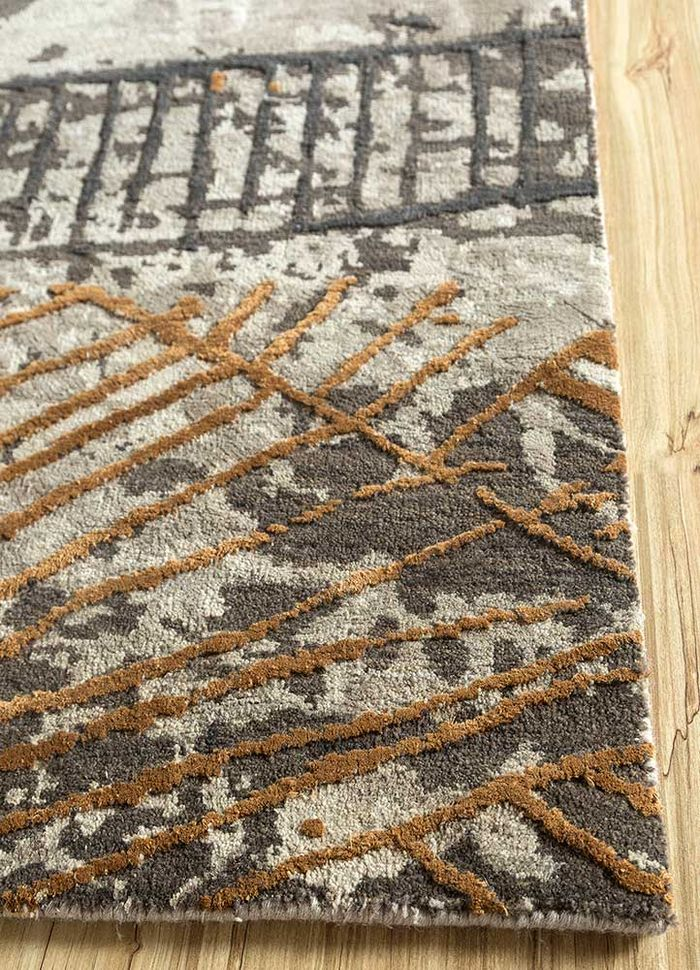safari beige and brown wool and silk hand knotted Rug - Corner