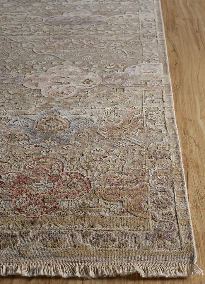 blithe beige and brown wool and silk hand knotted Rug - Corner