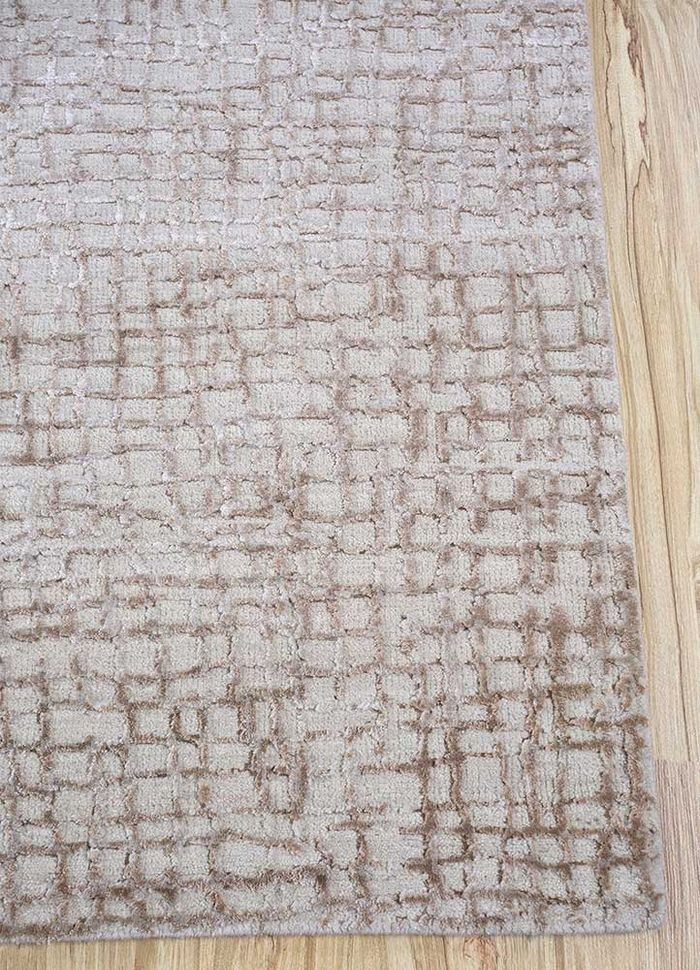 project error by kavi ivory wool and bamboo silk hand knotted Rug - Corner