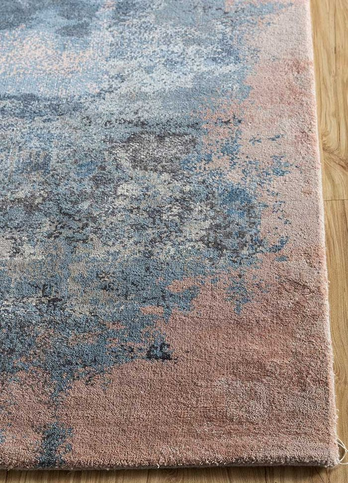 faulty by kavi grey and black wool and bamboo silk hand knotted Rug - Corner