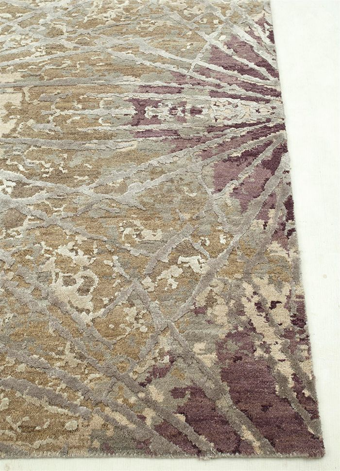 chaos theory by kavi beige and brown wool and bamboo silk hand knotted Rug - Corner