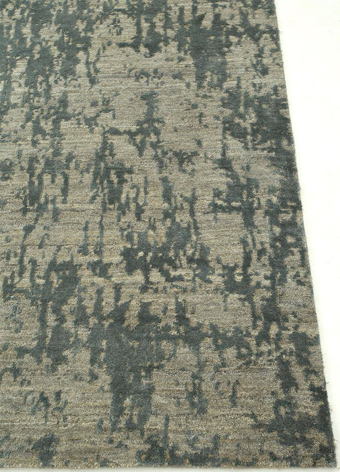 chaos theory by kavi blue wool and bamboo silk hand knotted Rug - Corner