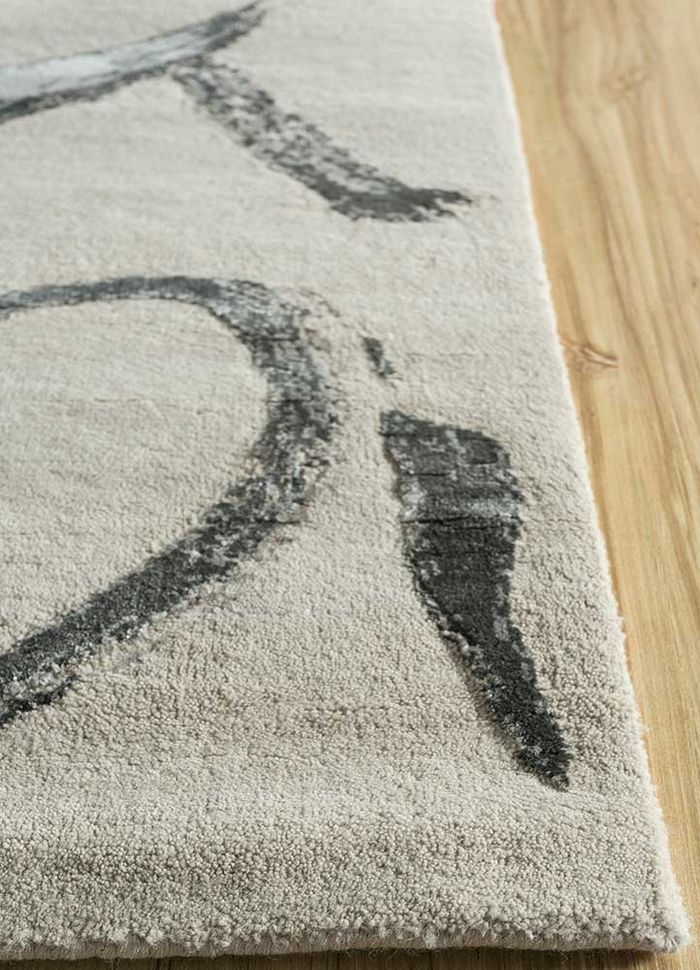 untitled by kavi ivory wool and bamboo silk hand knotted Rug - Corner