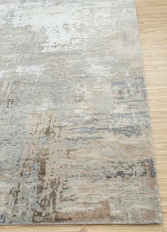 project error by kavi grey and black wool and bamboo silk hand knotted Rug - Corner