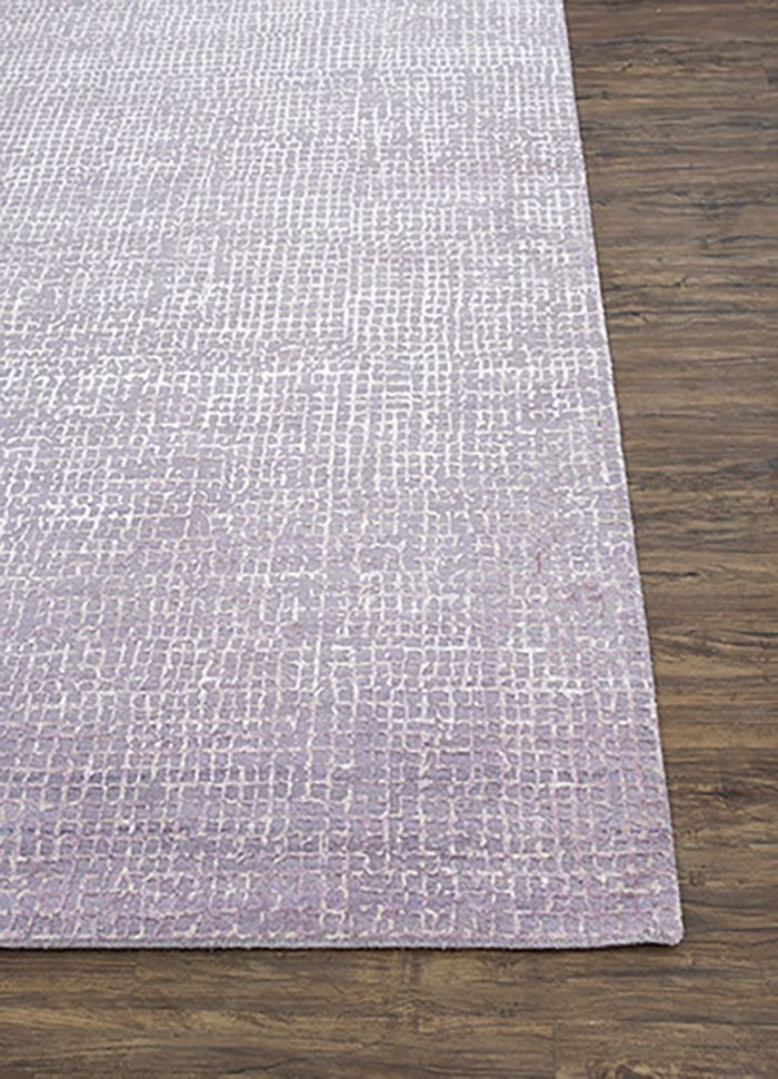 project error by kavi pink and purple wool and bamboo silk hand knotted Rug - Corner