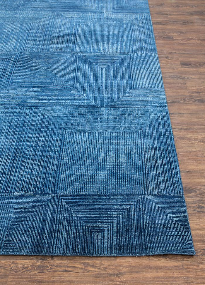 project error by kavi blue wool and bamboo silk hand knotted Rug - Corner