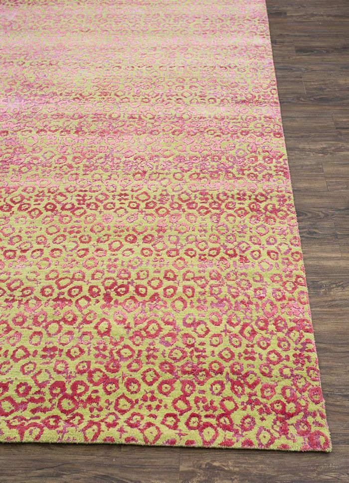 project error by kavi green wool and bamboo silk hand knotted Rug - Corner