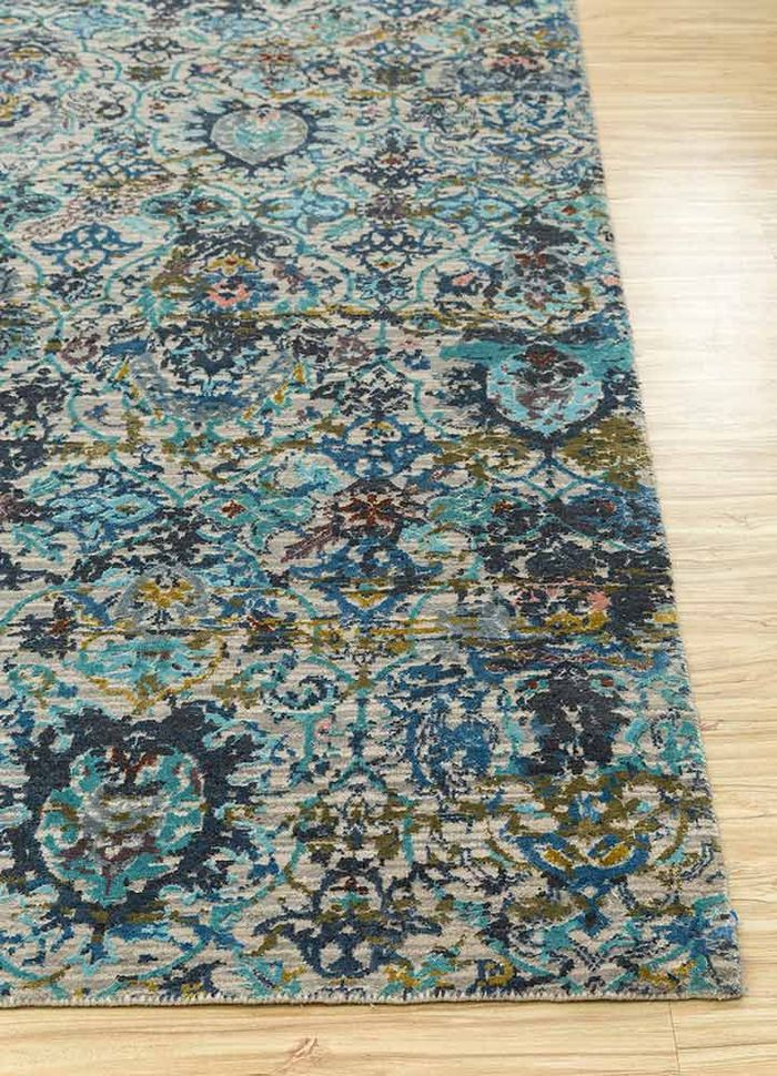 chaos theory by kavi ivory wool and bamboo silk hand knotted Rug - Corner