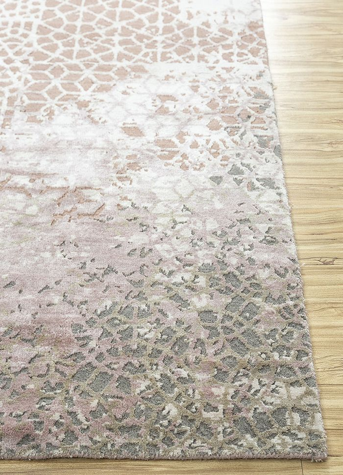 tattvam pink and purple wool and bamboo silk hand knotted Rug - Corner