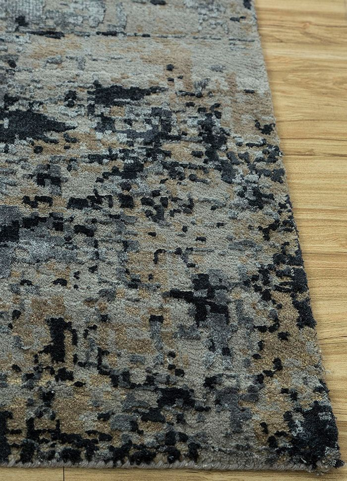 tattvam grey and black wool and bamboo silk hand knotted Rug - Corner