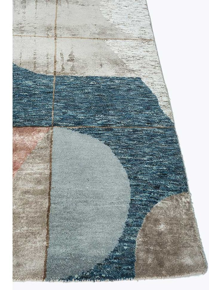 aakar by kavi beige and brown wool and bamboo silk hand knotted Rug - Corner