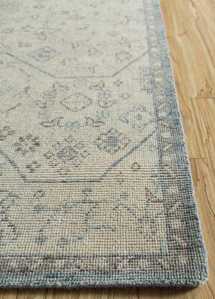 eden blue wool hand knotted Rug - Corner