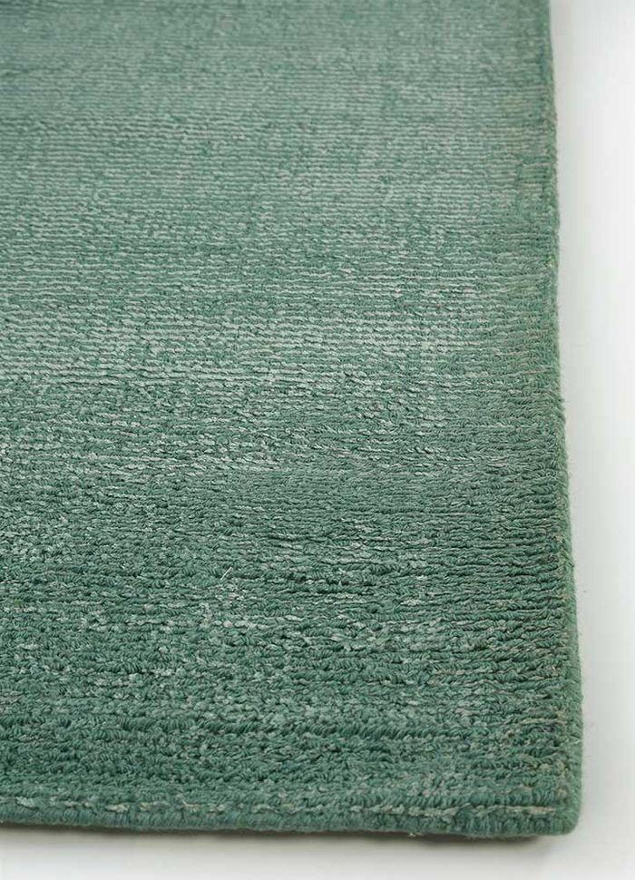 konstrukt blue wool and viscose hand loom Rug - Corner