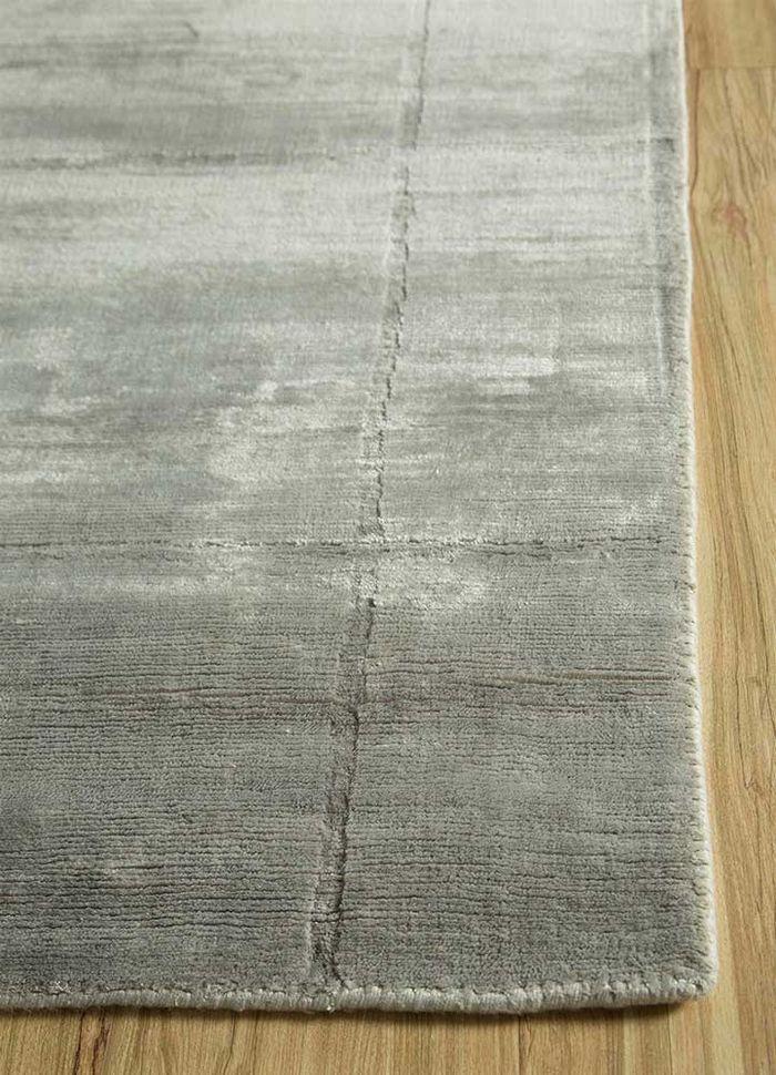 graze grey and black bamboo silk hand loom Rug - Corner