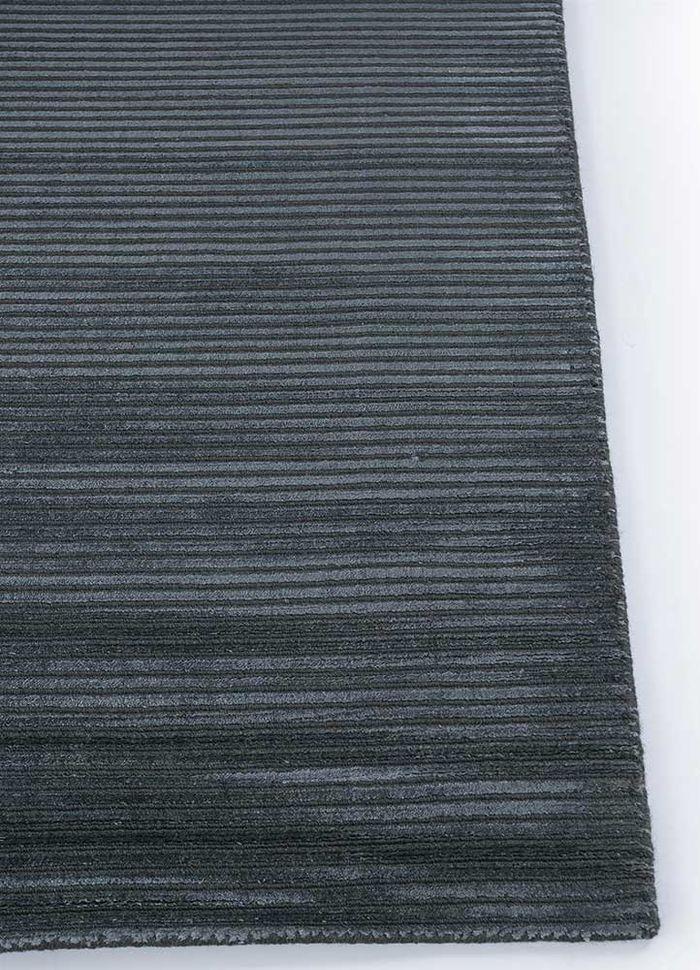 basis grey and black wool and viscose hand loom Rug - Corner