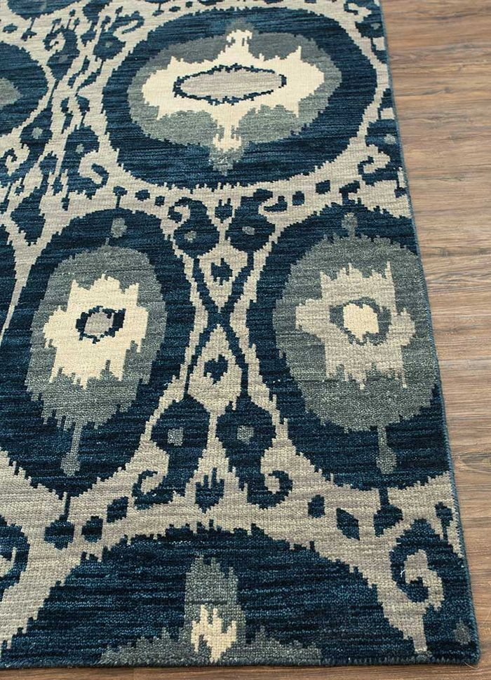 verna grey and black wool hand knotted Rug - Corner