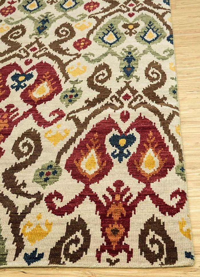 verna ivory wool hand knotted Rug - Corner