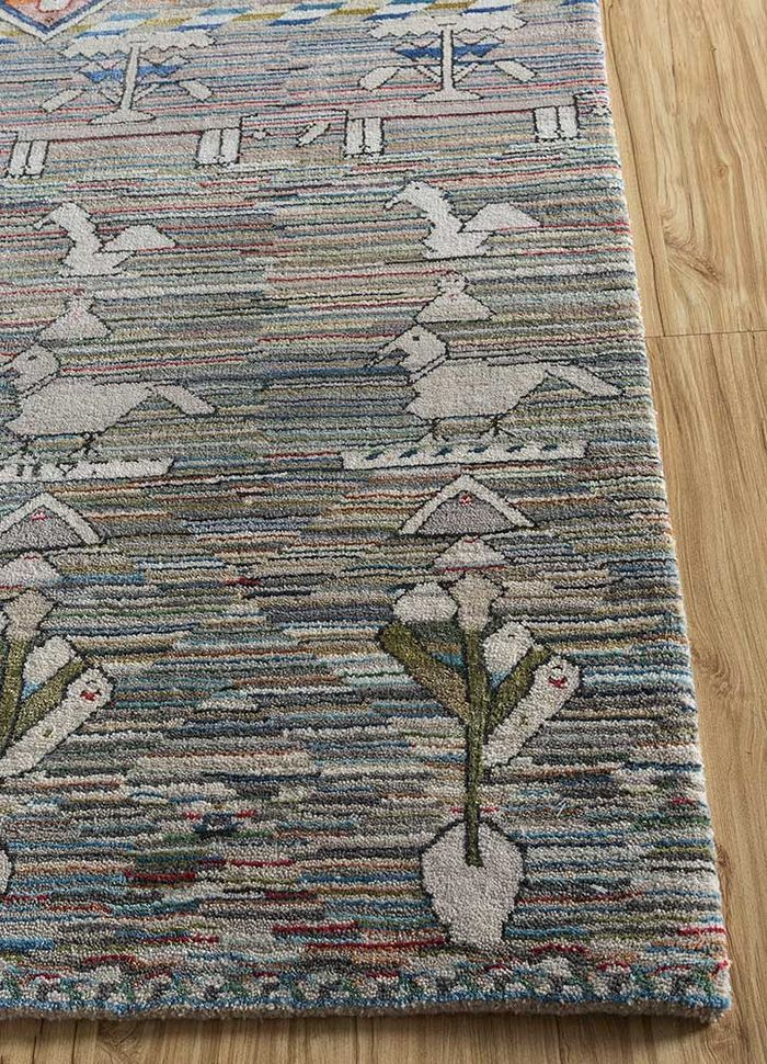 freedom manchaha grey and black wool and bamboo silk hand knotted Rug - Corner