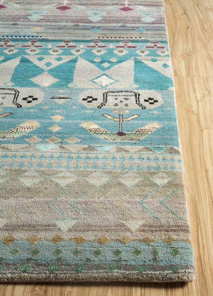 freedom manchaha beige and brown wool and bamboo silk hand knotted Rug - Corner