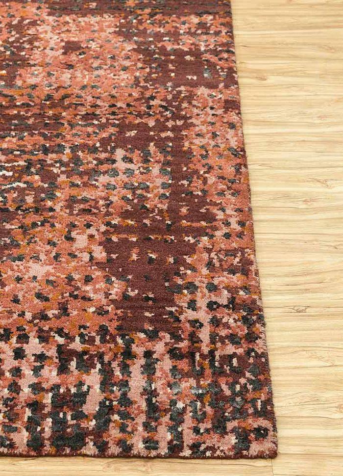 uvenuti red and orange wool and bamboo silk hand knotted Rug - Corner