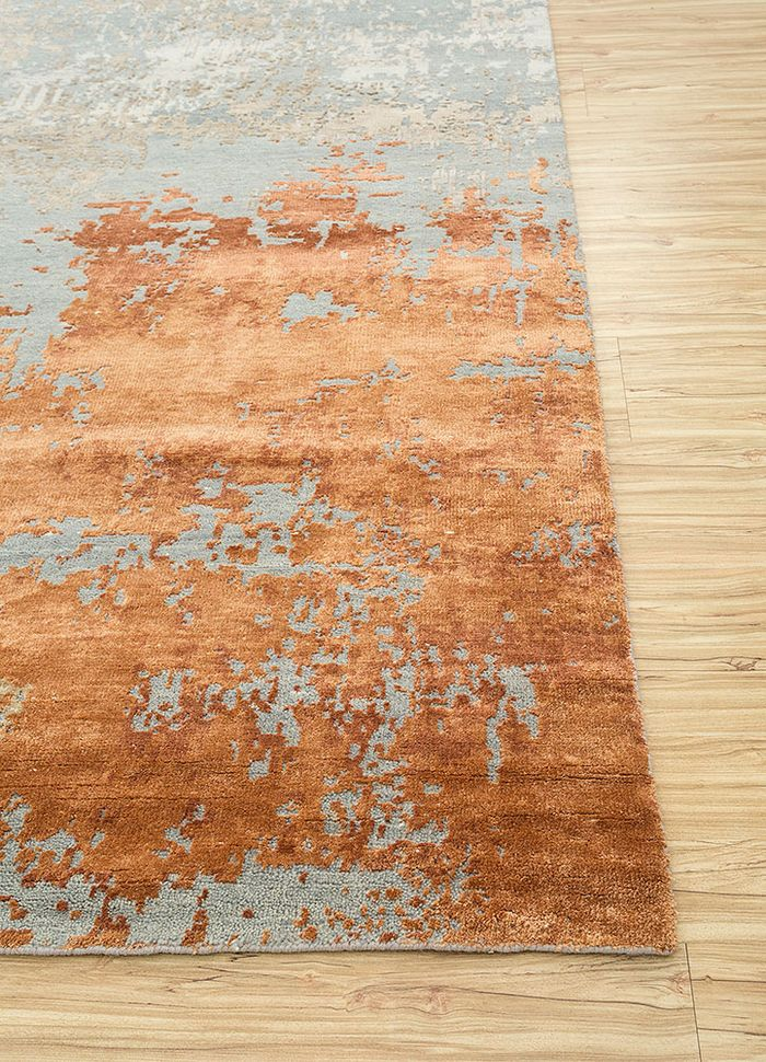 tattvam blue wool and bamboo silk hand knotted Rug - Corner