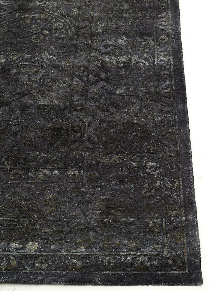lacuna grey and black wool and silk hand knotted Rug - Corner