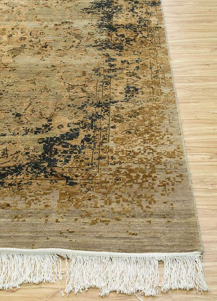 far east multi wool and silk hand knotted Rug - Corner