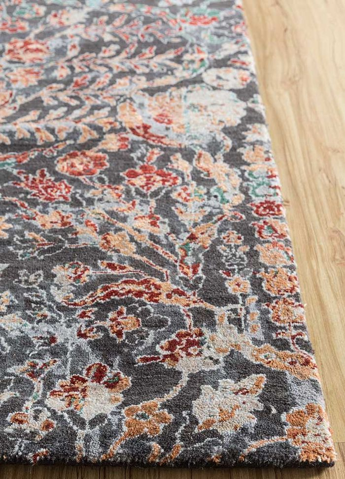 blithe blue wool and silk hand knotted Rug - Corner