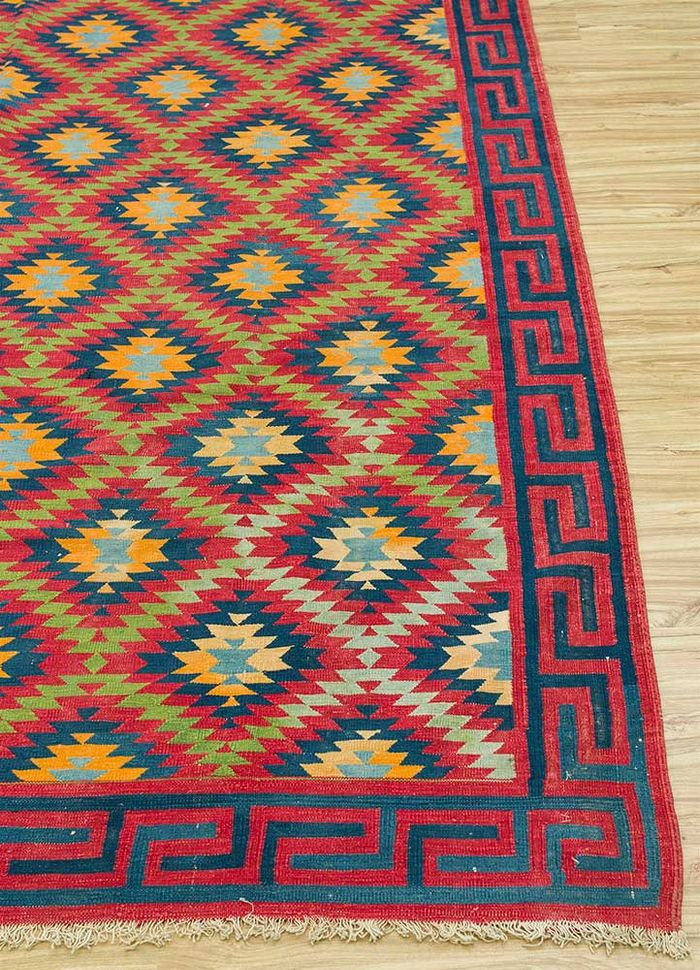 antique pink and purple cotton flat weaves Rug - Corner