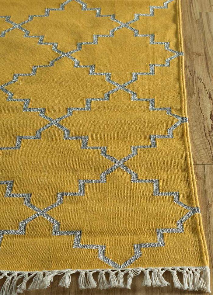 indusbar gold cotton flat weaves Rug - Corner