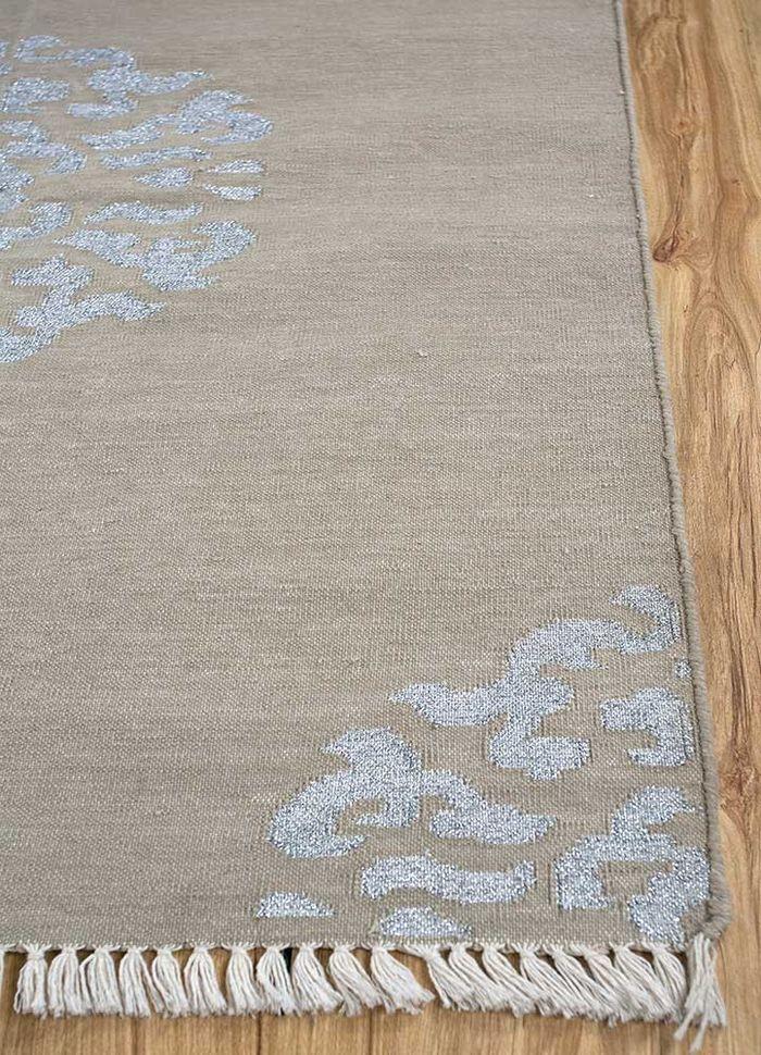 heritage beige and brown cotton flat weaves Rug - Corner