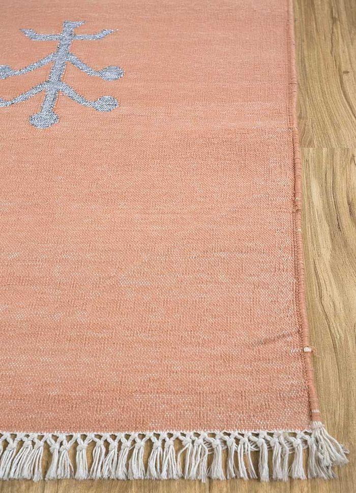 heritage red and orange cotton flat weaves Rug - Corner