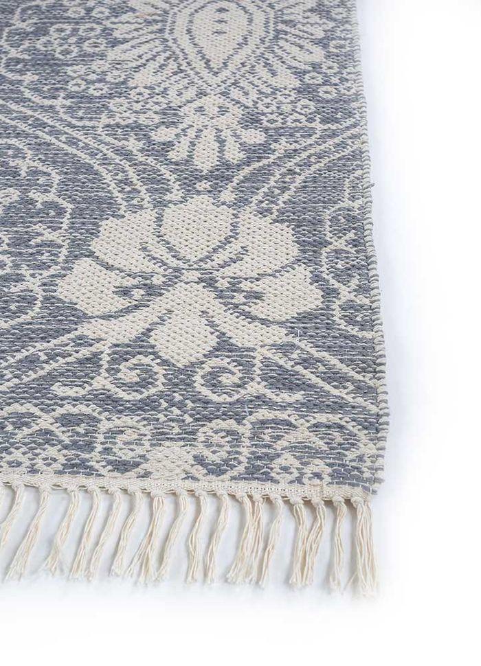heritage blue cotton flat weaves Rug - Corner