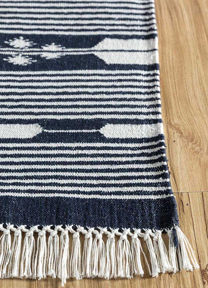 bedouin blue cotton flat weaves Rug - Corner