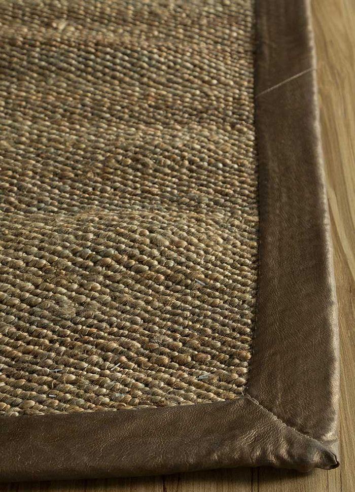 abrash grey and black jute and hemp flat weaves Rug - Corner