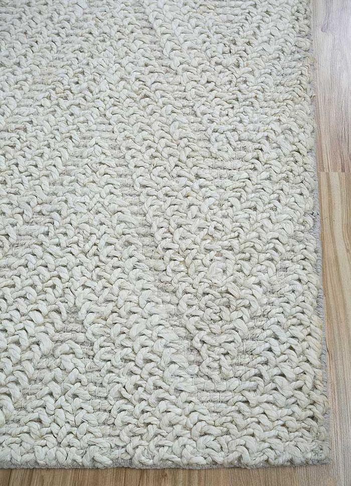 aqua ivory jute and hemp flat weaves Rug - Corner