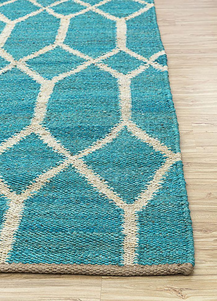 anatolia blue jute and hemp flat weaves Rug - Corner