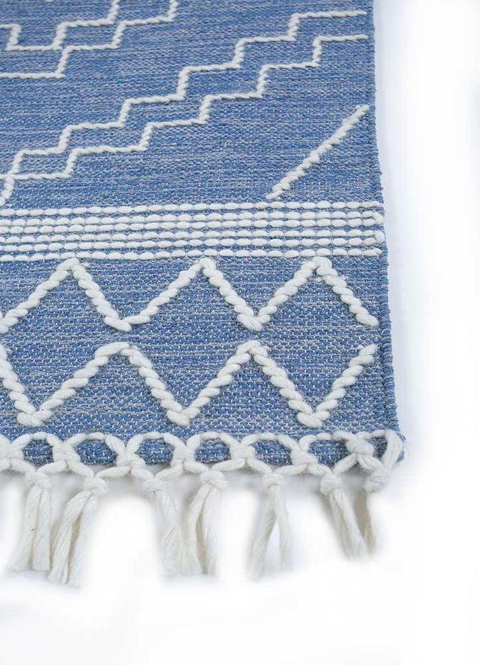 anatolia blue cotton flat weaves Rug - Corner