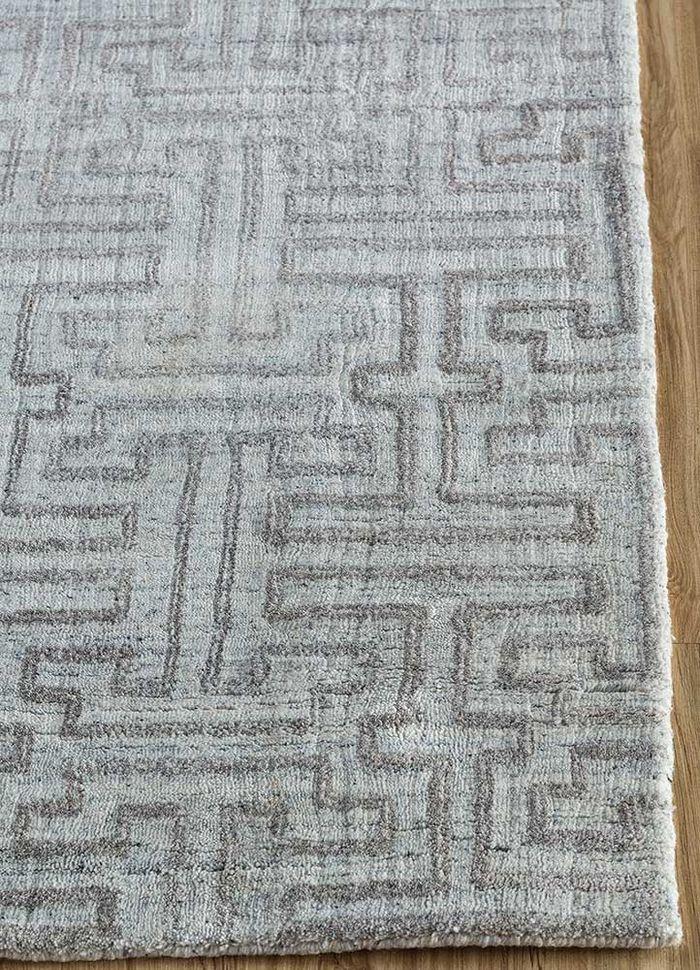 graze blue viscose hand loom Rug - Corner