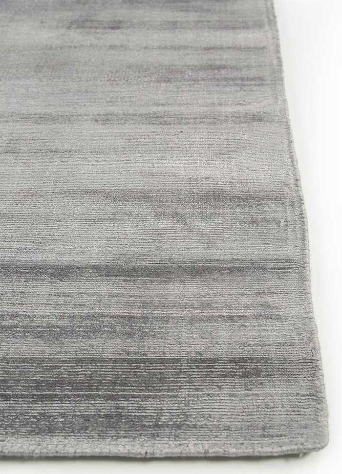 basis grey and black viscose hand loom Rug - Corner