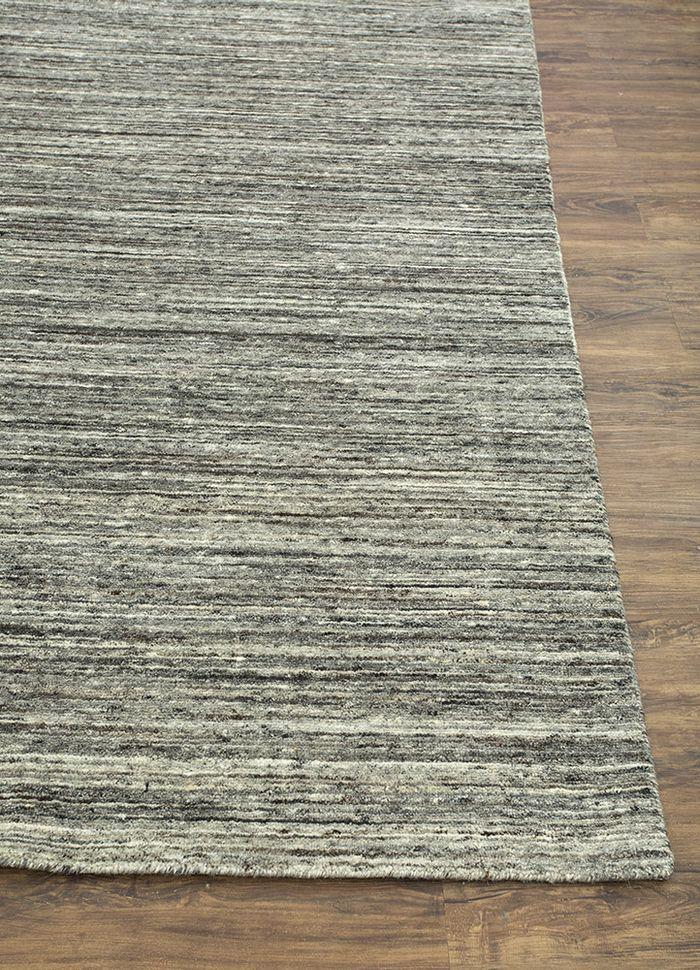 eron grey and black wool hand loom Rug - Corner